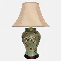 Vase Lamp in green with bird and flowers